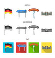 country germany cartoonflatmonochrome icons in vector image