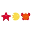 Cute cartoon fish crab and starfish icons