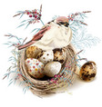 easter background with realistic bird nest eggs vector image vector image