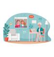 elderly communication cartoon composition vector image