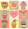 Fancy cupcakes Background vector image vector image