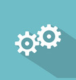 flat long shadow icon of gears vector image