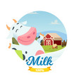 fresh farm milk banner with cartoon vector image