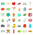 fun camping icons set cartoon style vector image vector image