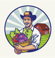 happy farmer with a basket bull of vegetables vector image vector image