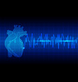 heart rhythm ekg on blue background vector image