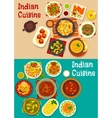 Indian cuisine traditional dinner icon vector image vector image