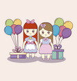 little girls with gifts boxes and balloons helium vector image vector image