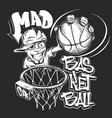 mad basketball slam t-shirt print design vector image vector image