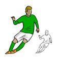 male soccer player with green jersey playing game vector image vector image