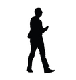 man with phone silhouette vector image vector image