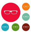 medical eyeglasses icons circle set vector image vector image
