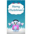 merry christmas greeting card of cute cartoon vector image vector image
