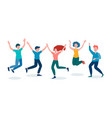merry people friendly company jumping people vector image vector image