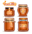 peach jam in glass jars vector image