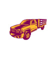 Pick-up Truck Woodcut vector image vector image