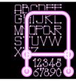 pink neon alphabet numbers vector image vector image