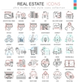 real estates color line outline icons vector image vector image