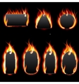 Realistic Fire Label Set on Dark Background vector image vector image