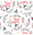 seamless pattern christmas plants and mistletoe vector image