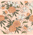 seamless pattern with orange peonies and white vector image