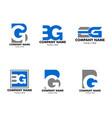 set initial letter bg logo template design vector image vector image