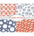 Set of stylish scrible seamless patterns vector image vector image