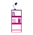 silhouette education bookcase with books and desk vector image vector image