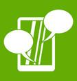 speech bubble on phone icon green vector image