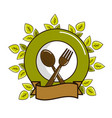spoon fork and plate with leaves and ribbon vector image vector image