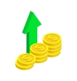 Stack of coin with green arrow icon vector image vector image