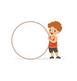 sweet redhead boy character standing with white vector image vector image