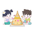 thai girl and boy in vintage wearing decorating vector image vector image