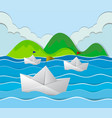 three paper boats floating in the ocean vector image vector image