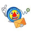 with envelope yoyo character cartoon style vector image vector image