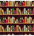 bookshelf seamless pattern with books vector image