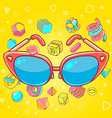 colorful of red sunglasses on yellow backgro vector image
