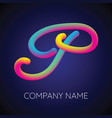 p letter logo icon blending color vector image