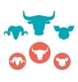 Set of farm animals heads flat icons vector image