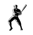 Baseball player batting woodcut black and white vector image