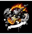 black background with a guitar vector image vector image