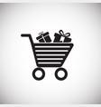 black friday shopping cart on white background vector image
