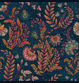 blue denim with colorful floral print vector image vector image