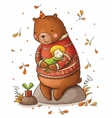 Brown teddy bear hugging a girl vector image