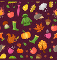 cartoon autumn elements and leaves pattern vector image vector image