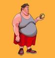 cartoon fat man looks at hamburger in his hand in vector image vector image
