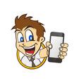 cartoon guy holding phone vector image vector image