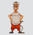 cartoon man in a cap and with a whip stands vector image vector image
