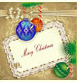 Christmas card with Christmas decorations vector image vector image