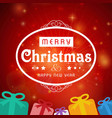 christmas card with red background and gift box vector image vector image
